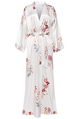 ArtiDeco Damen Morgenmantel Maxi Lang Seide Satin Kimono Kleid Blüten Muster Kimono Bademantel Damen Lange Robe Blumen Schlafmantel Girl Pajama Party 135 cm Lang (Weiße Blumen)
