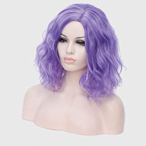 Vague profonde humide et ondulés Cheveux bouclés Perruques Mixte Densité pour femmes Dentelle Frontal avec bébé Violet Cheveux longs demi-mains liées,Violet