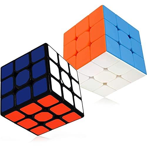Portonss Speed Magic Cube Set, 2 Pack, Magic Cube Set, 3x3 Smooth Sticker Puzzle Toys