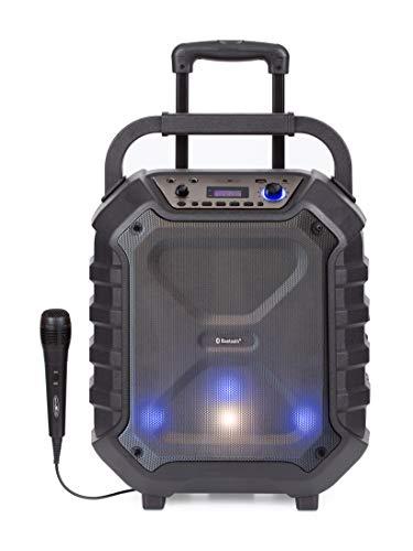 Reflexion DJ900BT kompakte PA-Anlage, mobil mit Akku, Lichteffekten & Karaoke-Funktion (Bluetooth, USB, AUX, Mikrofon, 400 Watt), schwarz