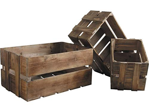 Lot de 3 caisses en bois vieilli