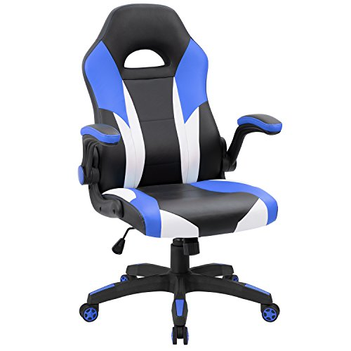 JUMMICO Gaming Chair Ergonomic Leather Racing Computer Chair High Back Adjustable Swivel Executive Office Desk Chair with Flip-Up Armrest (Blue)