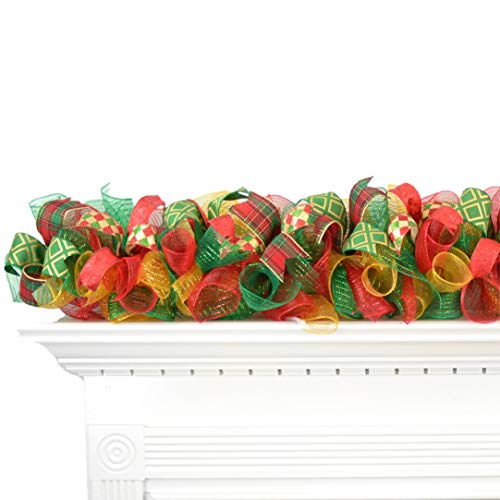 Christmas Garland for Staircase or Mantle - Mantel Decor - Red Emerald Green Gold - Choose Your Colors