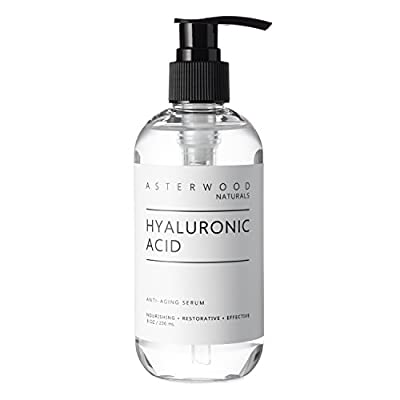 Hyaluronic Acid Serum 8 oz, 100% Pure Organic HA, Anti Aging, Anti Wrinkle, Original Face Moisturizer for Dry Skin and Fine Lines, Leaves Skin Full and Plump ASTERWOOD NATURALS Pump Bottle