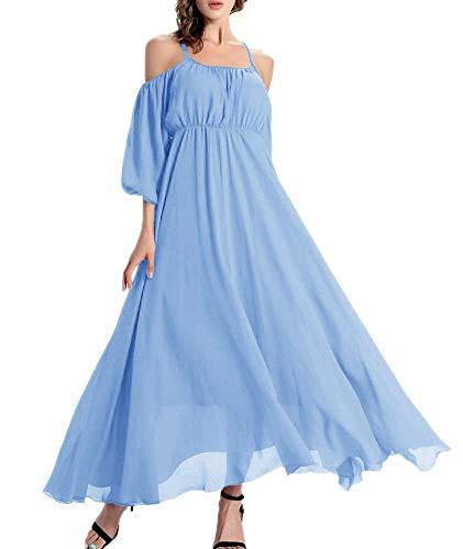 Afibi Womens Off Shoulder Long Chiffon Casual Dress Maxi Evening Dress (XX-Large, Cornflower Blue)