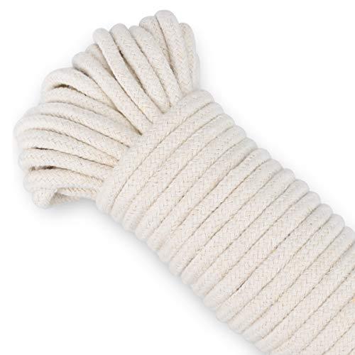 Handwerk Seil 1/4 Zoll natürliche Baumwolle Seil 65 Fuß lange Wäscheleine Allzweck Seil für DIY Seil Korb/Matte als Kerze Ersatz Docht selbst Bewässerung Seil für Topfpflanzen (1 festes Seil)