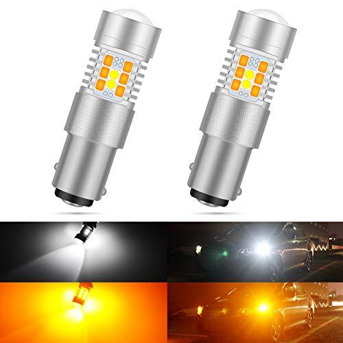 2-Pack AJUMKER 1157 LED Bulb Extremely Bright 21 SMD 12-24V High Power Chipsets 2357 2057 7528 BAY15D Work as Brake Lights Tail Lights Turn Signal Blinkers Amber