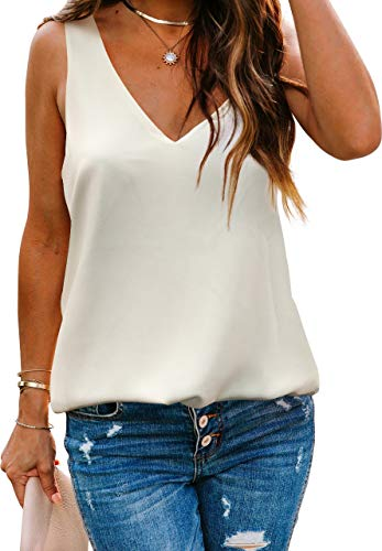 Alice CO Women's Casual V Neck Sleeveless Chiffon Layered Tank Tops (White, Large)
