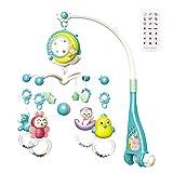 Cuna musical para bebé con función de temporizador, proyector y luces para colgar sonajeros giratorios y caja de música anillo de la campana