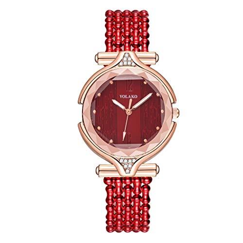 Rosennie Frauen Uhren Damen Armbanduhr Leder Mesh Quarzuhr Elegant Geschäfts Klassisch Analog Quarz-Uhr Einfach Kalender Uhren mit Diamant Strass Dekoration Geschenk