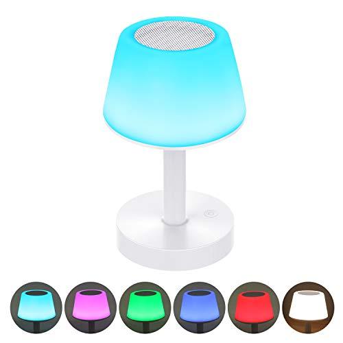 Lampe de Chevet LED Enceinte Bluetooth Portable, Lampe Nuit Tactile avec Couleur Changeante, Lampe de Table Rechargeable avec Lumière Blanche Chaude pour Chambre, Salle de Bébé et Salon Warmfunn