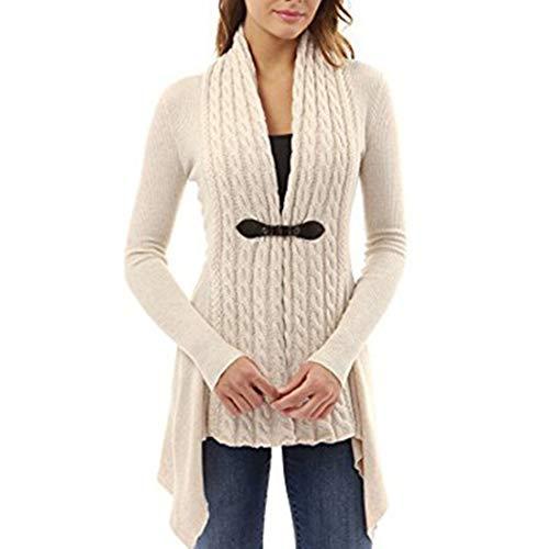 FIDOZ Women's Long Sleeve Knit Warm Jacket Coat Outwear Cardigan Jumper Sweater for Autumn Winter Womens Oversized Irregular Asymmetrical Hem Elegant Basic Knited Sweatshirt Pullover Tunic Tops