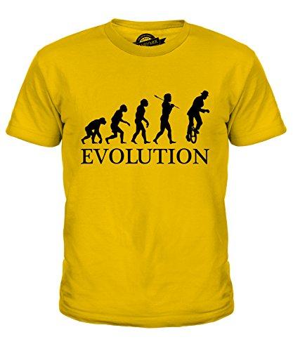 Candymix Einrad Evolution des Menschen Unisex Jungen Mädchen T Shirt, Größe 6 Jahre, Farbe Dunkelgelb