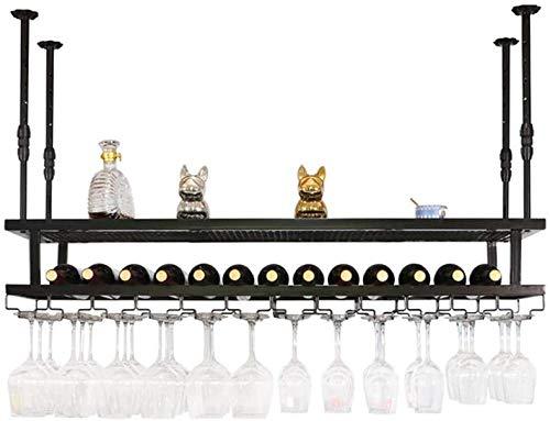 Estante Para Vino Retro, Estante Para Copas De Vino Colgante, Estante Para Copas De Vino De Doble Capa Multifuncional Para Colgar En La Cocina, Una Variedad De Tamaños Disponibles,Negro,120*30cm