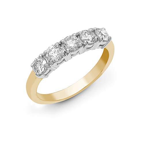 Jewelco Europa Sólido 18 quilates 2 colores Oro 4 Garras Redondas G SI1 0.5ct Diamante 5 Piedra Pentalogía Anillo de eternidad 3.5 mm