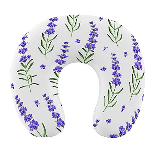 CIKYOWAY Almohada Viaje,Flores de Lavanda sobre un Fondo Blanco,Espuma de Memoria cojín de Cuello,Almohadas de Acampada,Soporte de Cuello para Viaje Coche
