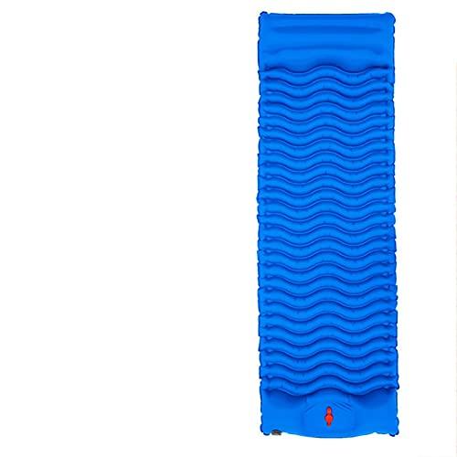 SRXSMGS Esterillas Estera Acampada Inflable rápida con Almohadillas de pie, Cama de Aire a Prueba de Humedad portátil al Aire Libre con Almohada (Color : Blue)