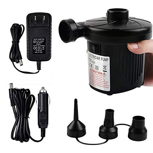 Helovmine Electric Portable Air Pump 110V AC/12V DC Fill Inflator Pump for Blow Up Pool Toys Air Mattress Rafts Floats