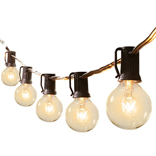 25Feet G40 Outdoor Patio String Lights-Connectable Globe Lights with 26 Clear Bulbs(1 Spare), UL Listed Backyard Lights for Indoor Outside Commercial Decor, 25 Sockets, E12 Base, 5W Bulb, Black