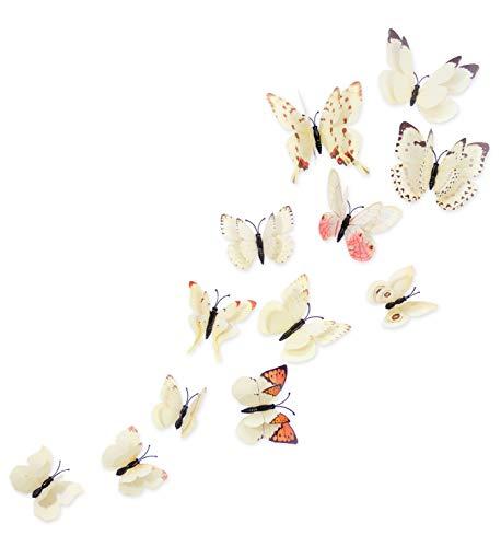 MissBirdler, 24 pezzi. Farfalle effetto 3D frigorifero farfalla magnete con punti adesivi da parete bianco decorazione soggiorno camera da letto cucina cameretta bambini decorazione magnete