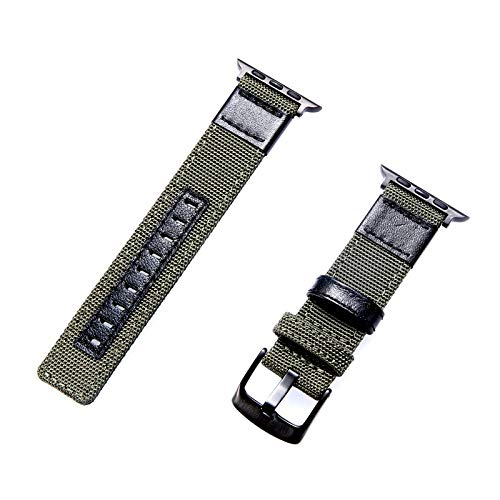 Kompatibel mit Apple Watch Armband 38 mm/40 mm/42 mm/44 mm, Nylonband, modisch, kompatibel mit der Serie iWatch 5/4/3/2/1, austauschbare Handgelenkschlaufe. 42mm/1-3 grün