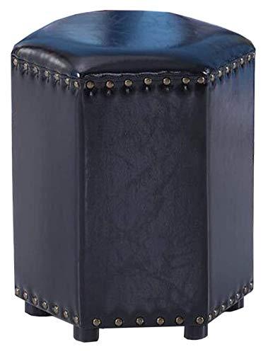 Banco de zapatos de bambú Pedido de cuero HEXAGONE HEXAGON Formado de la PU Sofá Sofá Remache Decoración Zapatos Banco de madera Marco Reforzado Reposapiés, Tamaño: 32 × 32 × 36 cm, Color: Negro Sofá