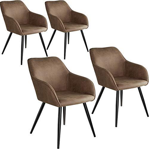 tectake 800870 4er Set Esszimmerstuhl mit Armlehnen, gepolsterte Stoff Sitzfläche, Schwarze Metallbeine, für Wohnzimmer, Esszimmer, Küche und Büro (Braun)