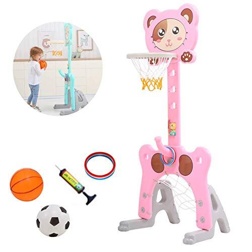 XIUYU Kinder-Basketball Set Ständer, justierbare Basketballkorb 3-in-1 Kinder Adjustable Basketball Outdoor Indoor-Standplatz for Kinder, Blau (Color : Pink)