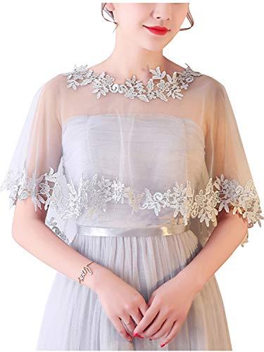 Bridal Wedding Cape Hi Lo Lace Appliques Evening Party Accessories,Gray