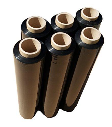 Stretchfolie Schwarz 1,5 kg Wickelfolie 175 m Verpackungsfolie 50 cm Versandfolie Transportfolie Packfolie Folie zum Verpackung 6 x Rolle