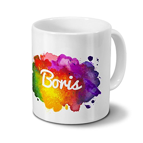 Tasse mit Namen Boris - Motiv Color Paint - Namenstasse, Kaffeebecher, Mug, Becher, Kaffeetasse - Farbe Weiß