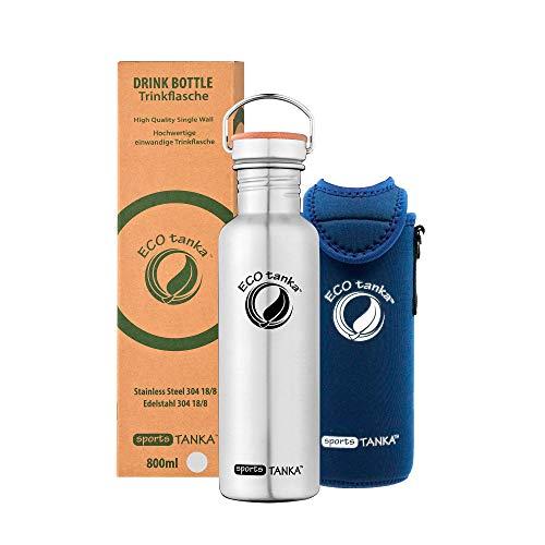 ECOtanka sportsTANKA Trinkflasche aus Edelstahl 0,8 Liter auslaufsicher - Wasserflasche BPA frei mit Edelstahl Bambus Verschluss + KOOLER