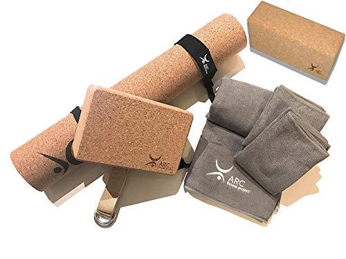 ARC Natural Cork Yoga Set Starter Kit, 8 Pieces Equipment, Includes 1 CORK (4mm) Yoga Mat,...