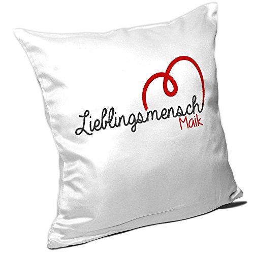 Kissen mit Namen Maik und schönem Lieblingsmensch-Motiv zum Valentinstag - Namenskissen - Kuschelkissen - Schmusekissen