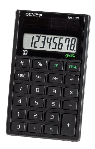 Genie 105 ECO 8-stelliger Taschenrechner (Solar-Power, klassisches Design) schwarz