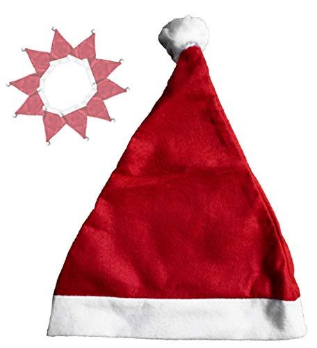 L+H 12x Weihnachtsmütze Nikolausmütze rot mit Plüsch-Bommel |hochwertig, weich für Kinder und Erwachsene | Weihnachtsmann Santa Claus Xmas Mütze im Set | Weihnachten Nikolaus-Kostüm Weihnachtsmarkt