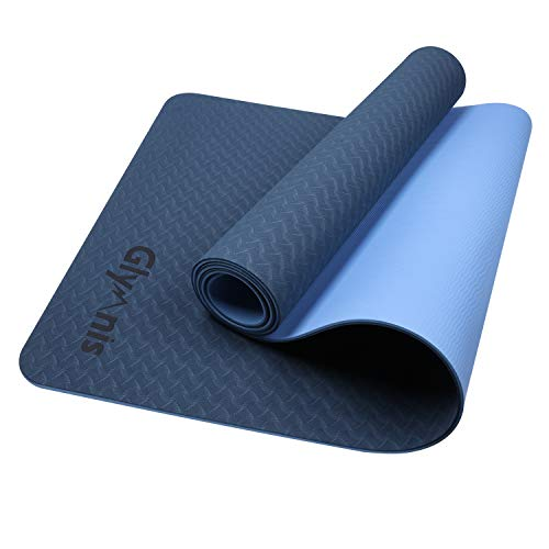 Glymnis Esterilla Yoga Antideslizante Colchoneta Yoga Mat Esterilla Deporte de Material Ecológico TPE Esterilla Pilates con Correa 183mm x 61mm x 6mm Azul