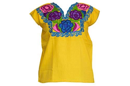 Mexikanische Hemden für Frauen, mexikanische Fiesta, hergestellt in Chiapas, verschiedene Größen und Farben - Gelb - Klein