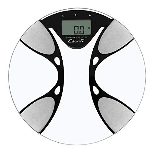Escali BFBW200 Advanced Bioelectrical Impedance Analysis (BIA) Technology Calculates Body Fat/Water Percentages, Bathroom Scale, LCD Digital Display, 400lb Capacity, Clear