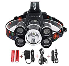 LIGHT THE WAY – Never get left in the dark with the headlamp flashlight! This ultra-bright,12000 lumens headlamp features XML T6+4Q5 Head Lamp Powerful Led Headlight ALL-WEATHER READY – You're prepared for anything, and your gear should be, too! head...