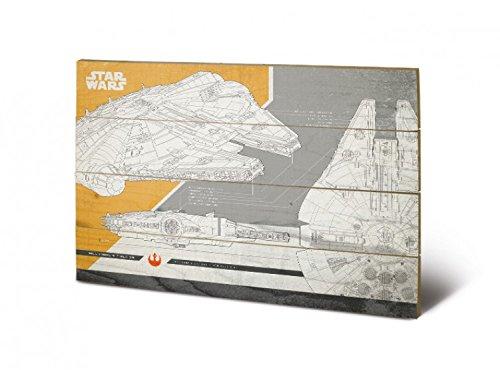 1art1 Star Wars - Episodio VIII Los Últimos Jedi, Halcón Milenario Plans Cuadro De Madera (60 x 40cm)