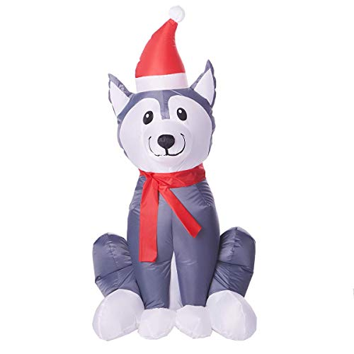Gemmy Holiday Time 3.5 Ft. Inflatable Husky Dog