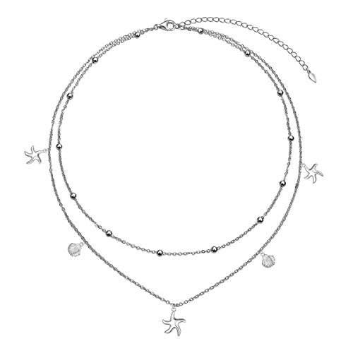 S925 Sterling Silver Starfish Shell Layered Choker Necklace for Women Dainty Chain Jewelry Gifts for Girlfriend Mom