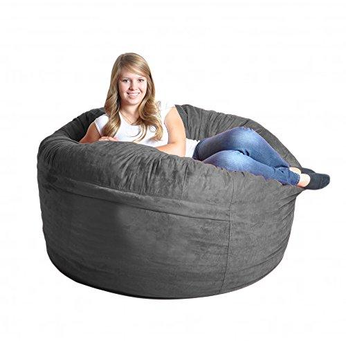 Astounding 5 Charcoal Grey Foam Bean Bag Chair Like Lovesac Gray Andrewgaddart Wooden Chair Designs For Living Room Andrewgaddartcom