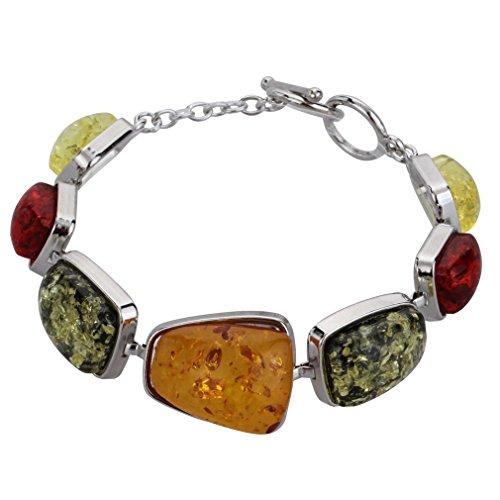 Yazilind Frauen-Weinlese-Silber überzogene orange Bernstein-Armband-Armbänder Schmuck Geschenke