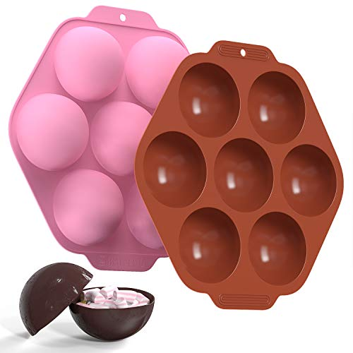 ACALANTHA Large 7 Cavity Semi Sphere Silicone Mold, 2 Pcs Half Circle Silicone baking mold, Round Ball Silicone Mold for Making Hot Chocolate Bomb Cake Jelly Ice Cube Dome Mousse (Brown and Pink)