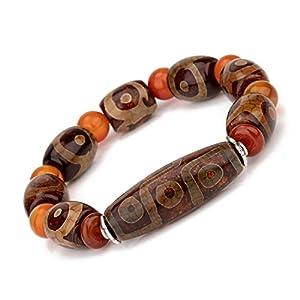 Prime Fengshui Schützende natürliche tibetische Dzi Perlen Kombination Armband Amulett Armreif zieht positive Energie und Glück an.