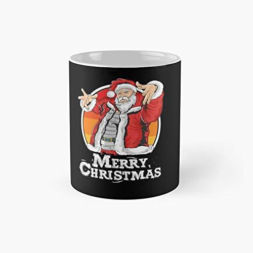 Taza clsica con diseo de Pap Noel como msica Dj para Navidad, fiesta loca, ideal como taza de caf, 325 ml