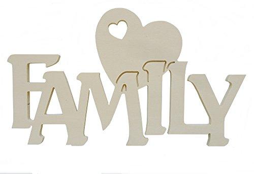 Scritta in legno family con cuore cm L 30x 18 h spessore 8 mm