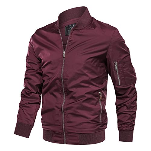 TACVASEN Men's Jacket-Lightweight Spring Fall Outdoor Flight Bomber Coat, Wine Red L
